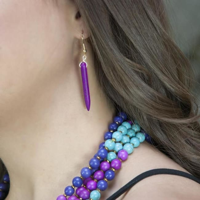 Gold plated Pin-Down Earrings -Plum