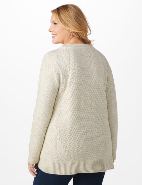 Lurex Sharkbite Pullover Sweater - Plus