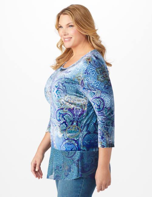 Velvet Asymmetrical Hem Knit Top - Plus