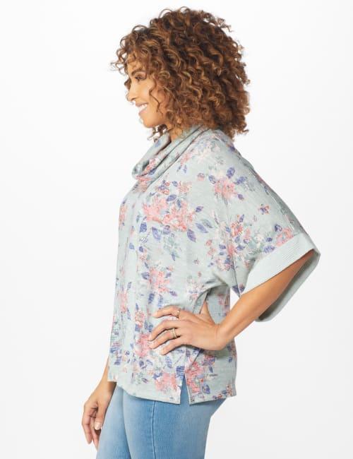 Cowl Neck Floral Knit Top