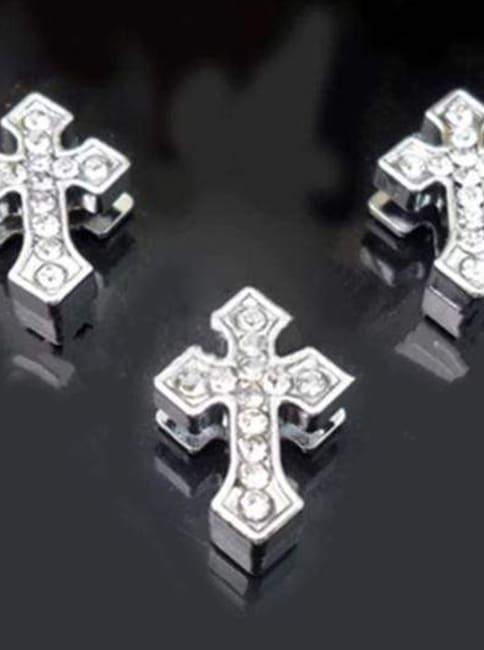Pave Arrowed Cross Charm -Silver