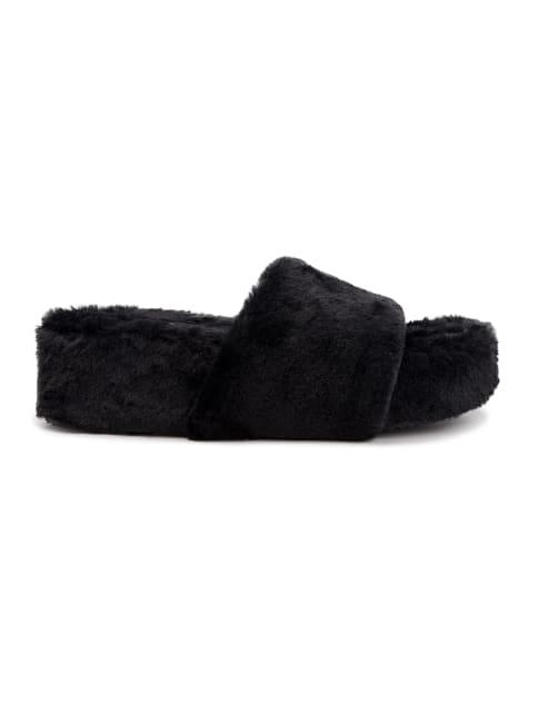Wryde Fuzzy Platform Slippers