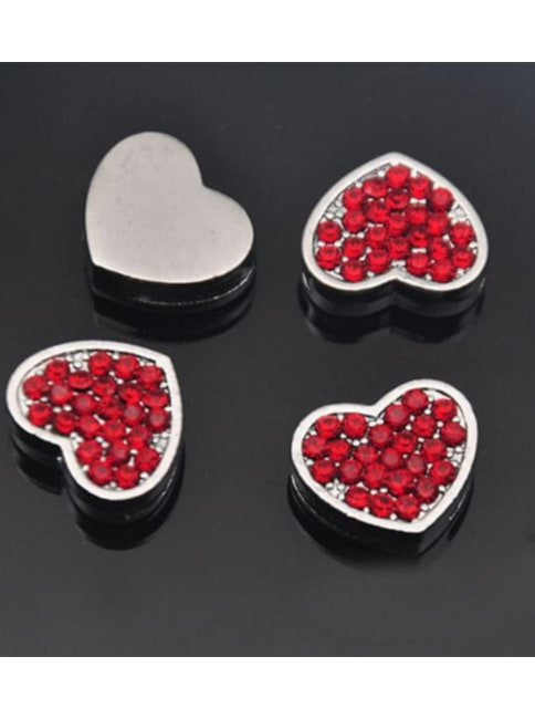 Red Pave Heart Silver Charms