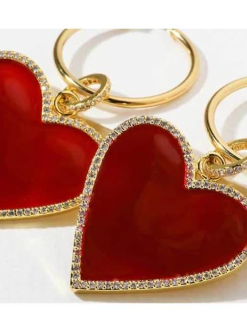 3 Red Hearts Earrings