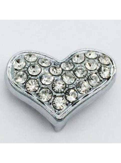 Pave Heart - Silver Charm