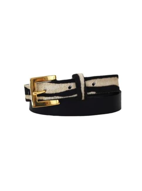 Sophia Genuine Leather & Cowhide Belt -Black