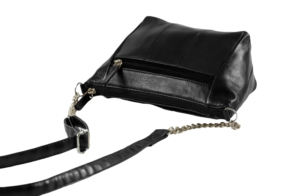 Champs Leather Double Zip Cross Body Bag