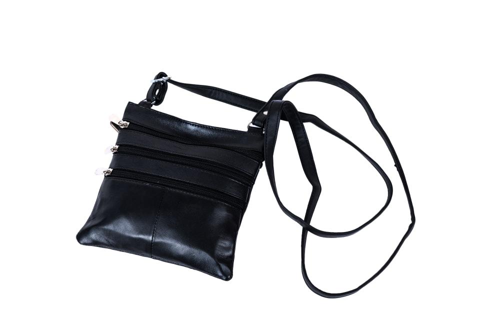Champs Leather Triple Zip Cross Body Bag