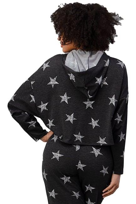 Star Printed Hoodie Jogger Set Pajama Set