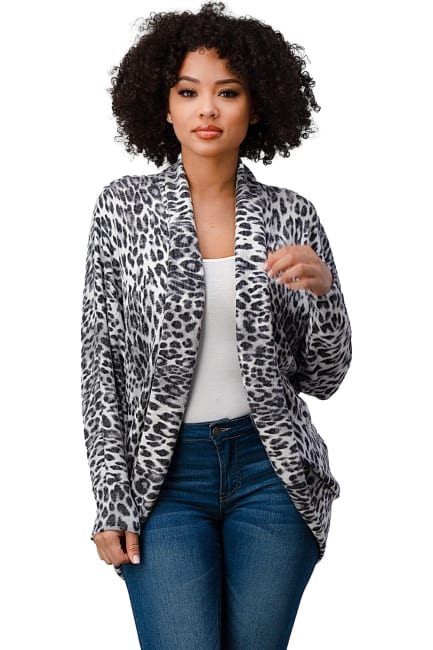 Brushed Hacci Leopard Printed Cocoon Cardigan