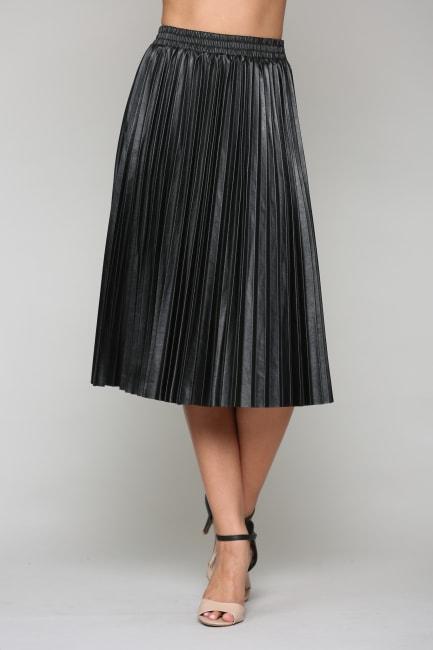 Lisa Pleated Leather Skirt