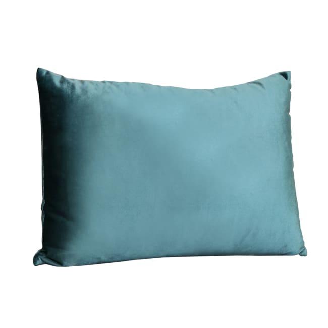 Teal Aqua Velvet Rectangular Lumbar Pillow