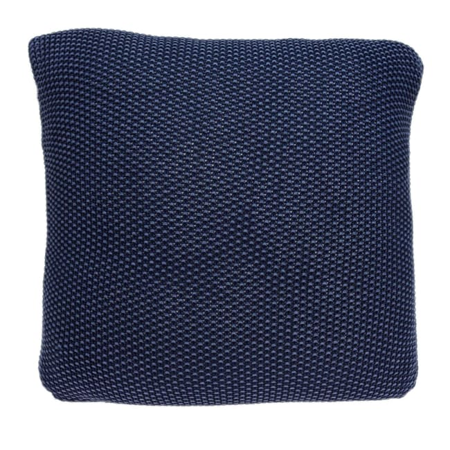 Casual Square Sweater Knit Navy Blue Accent Pillow Cover