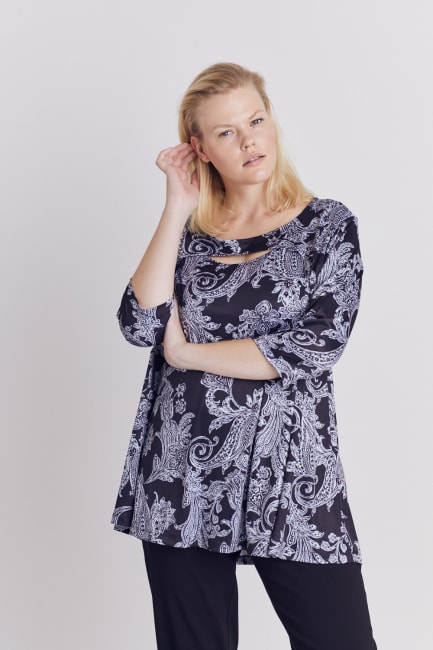 Paisley Keyhole Fit and Flare Knit Top - Plus