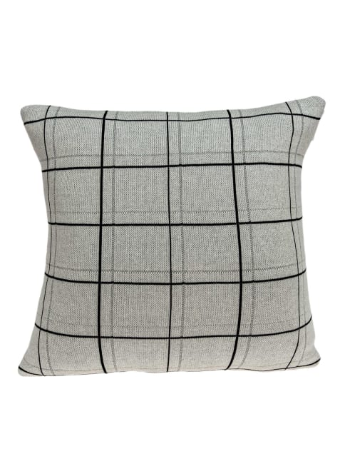 Large Scale Tan and Grey Plaid Cotton Accent Pillow Cover