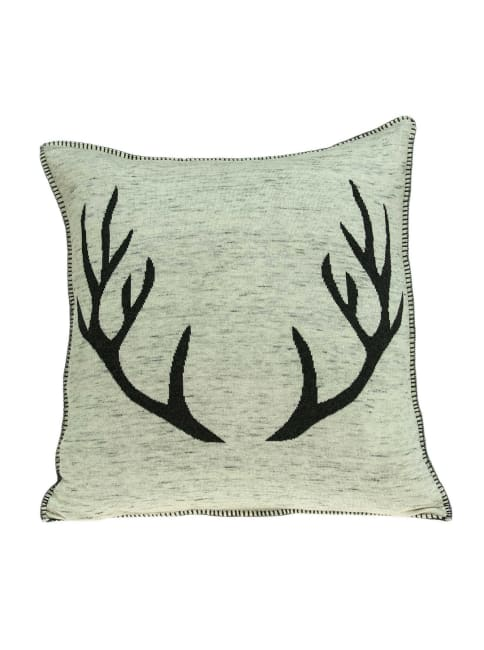 Square Grey and Black Stag Pillow Cover