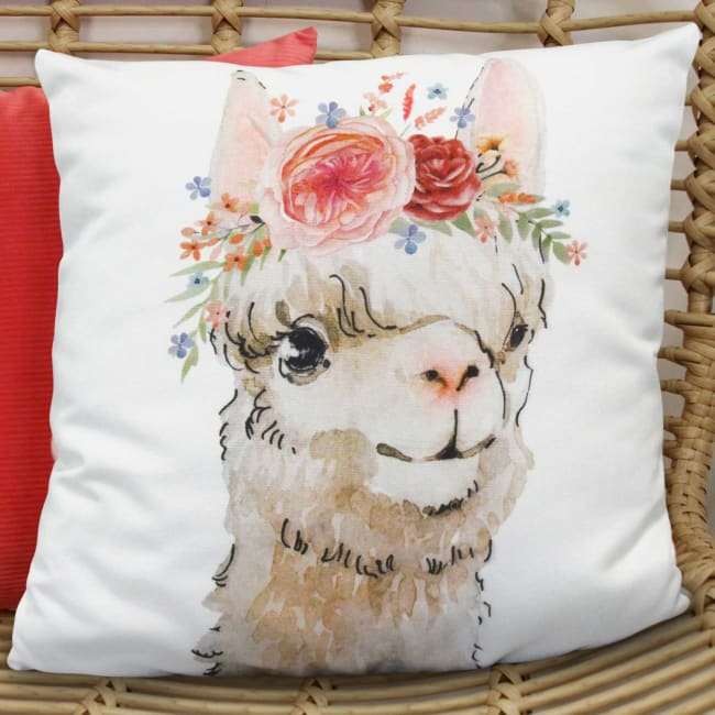 Boho Chic Flowers and Llama White Square Pillow