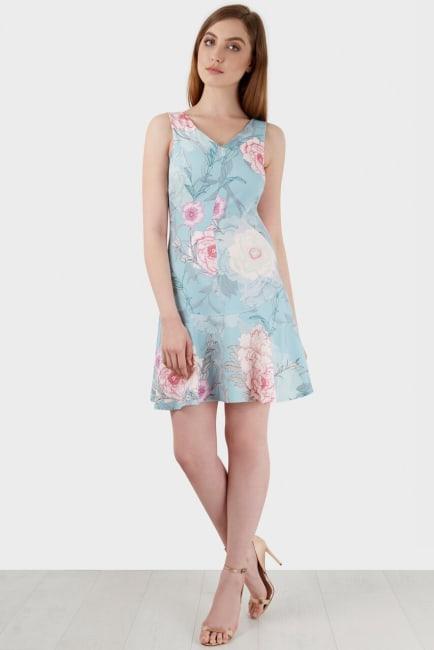 Multi V-Neck Floral Flared Skirt Dress