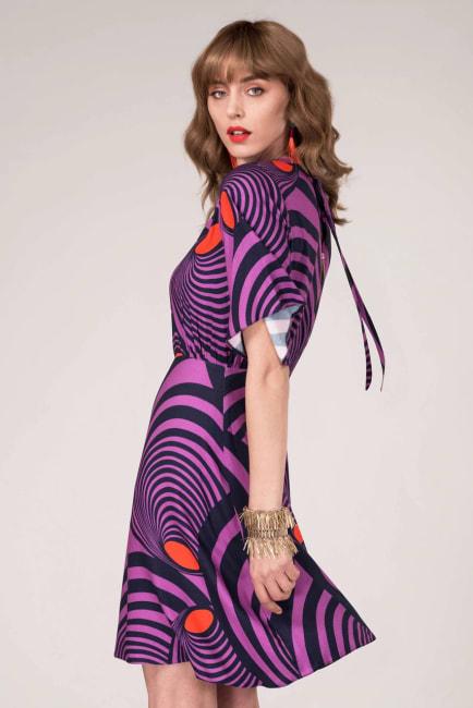 Purple Gathered Neck A-Line Dress