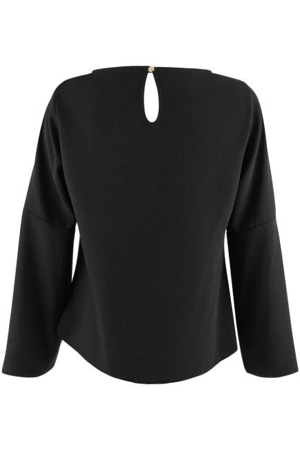 Black Volant Sleeve Blouse