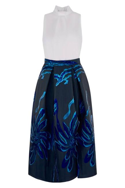 Closet Gold 2 in 1 Navy Collar Full Skirt Dress
