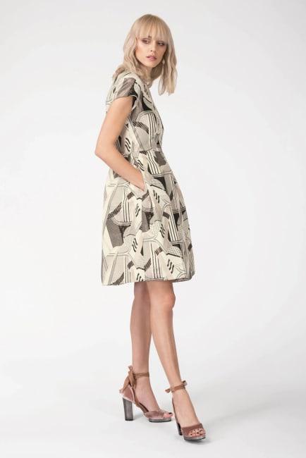 CLOSET GOLD Metallic Jacquard Mandarin Collar Pleated Short Sleeve Dress