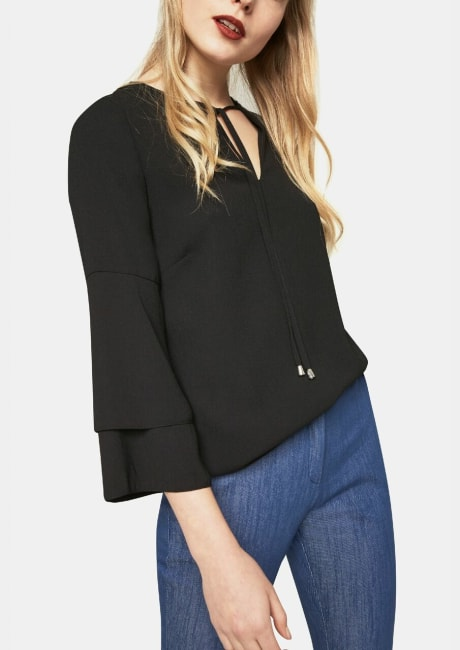 Tie Neck Top with Flute Sleeves