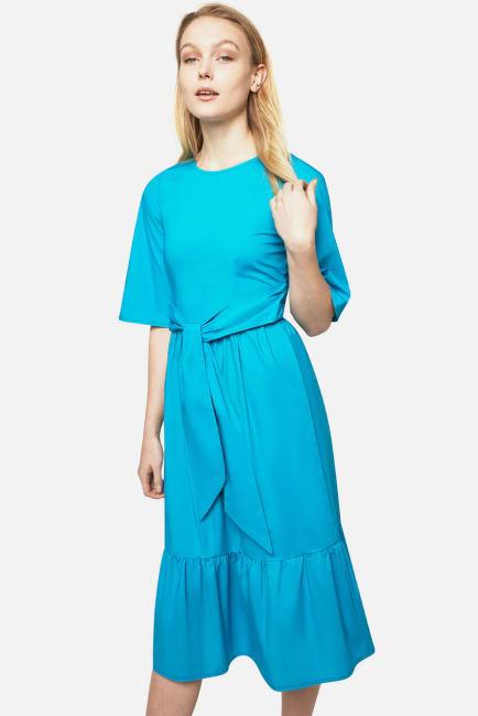 Tie Waist Frill Hem Dress