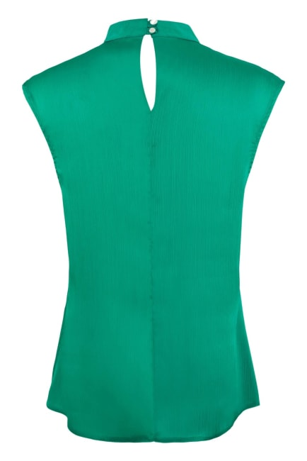 Green Frill Round Neck Blouse