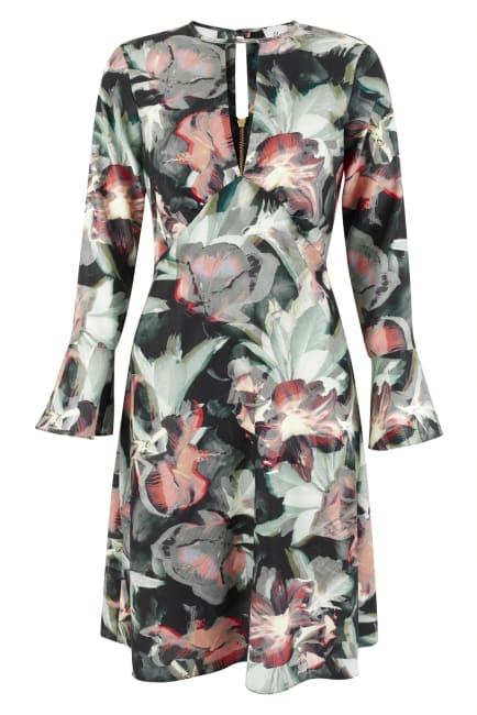 Multi Split Neck Fluted Sleeves Tunic Dress