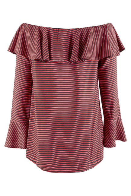Black and Red Ruffle Neck Off-the Shoulder Blouse