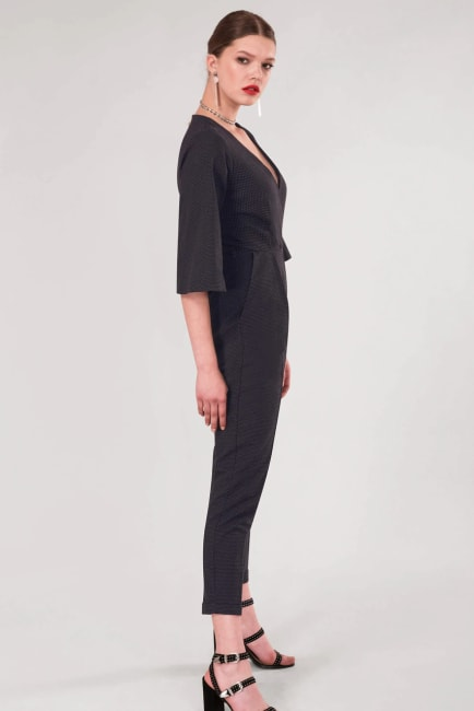 Black Polka Dot Wrap Slim Leg Jumpsuit