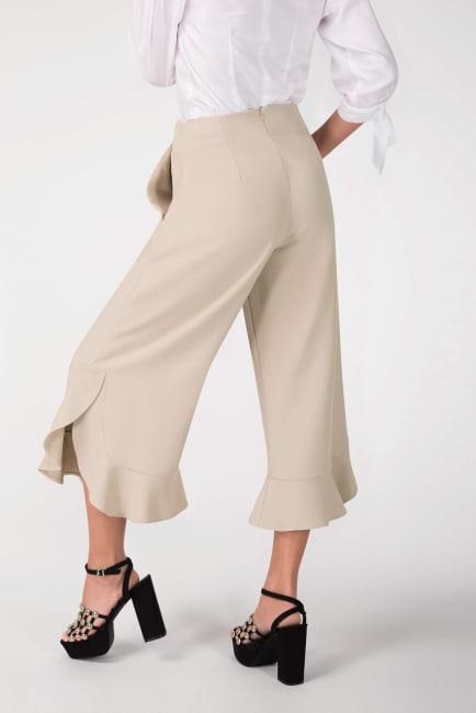Beige High Waisted Frill Hem Crop Pants