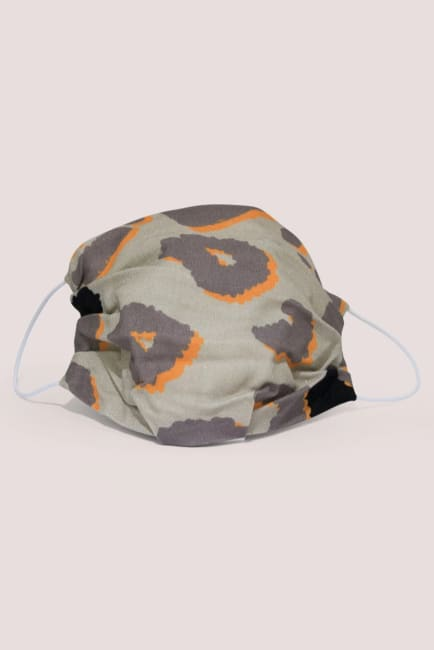 Grey And Orange Double Layer Fabric Face Mask
