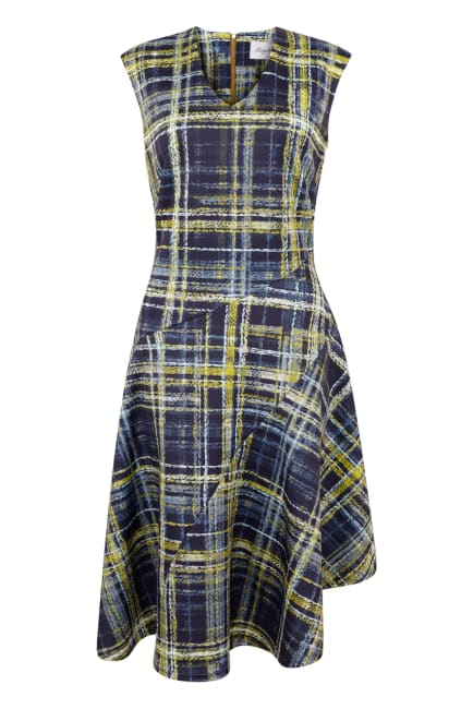 Navy Check Asymmetric Flared Dress