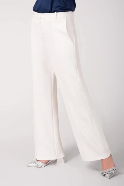 Ivory Wide Flared Leg Ankle Pants