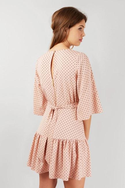 Pink Dotted Flared 3/4 Sleeve Frill Hem Short Dress