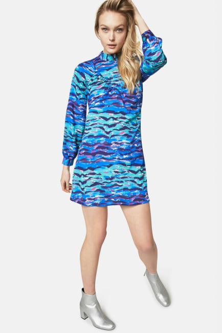 Closet Printed High Collar Dress