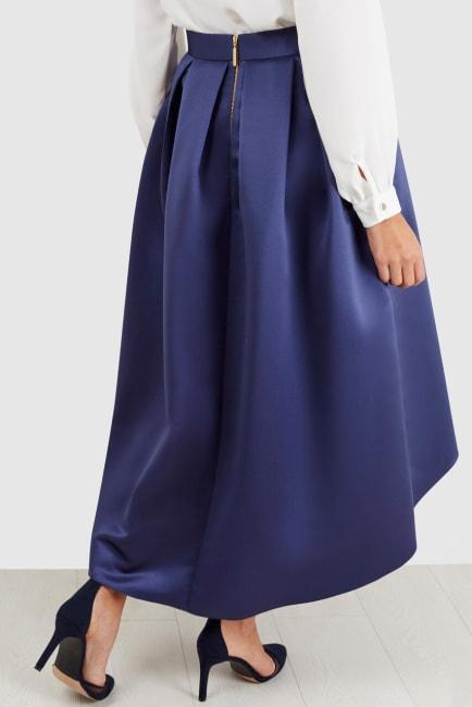 Navy Satin High-Low Skirt