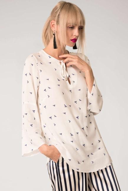 White Flared Long Sleeve V-Neck Tunic Top