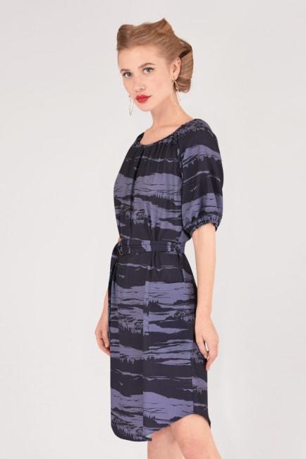 Blue Printed Gathered Raglan Sleeve Dress