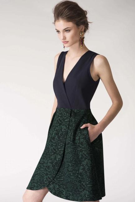 Metallic Navy & Green 2-in-1 Floral Print Wrap Dress