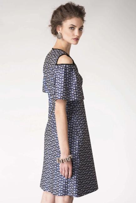 Blue Metallic Cold Shoulder Jacquard Dress