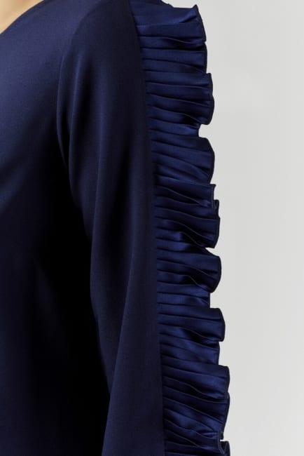 Navy Pleated Sleeve Tunic Dress