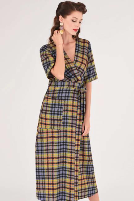 Lime Checked Midi Kimono Dress