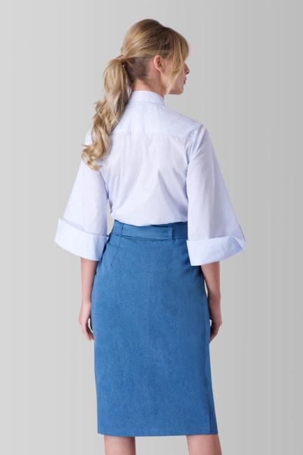Blue Pencil Tie Front Skirt
