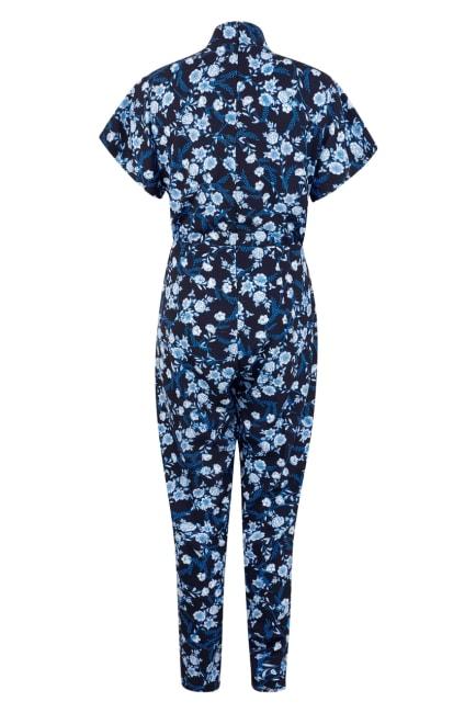 Navy Floral Wrap Front Kimono Jumpsuit