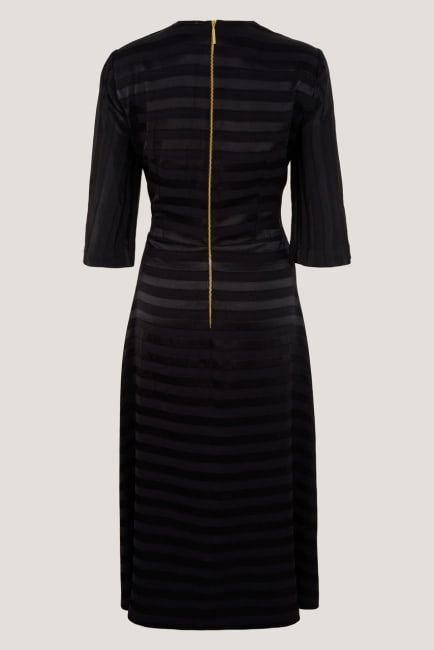 Black Satin Stripe Wrap Midi Dress