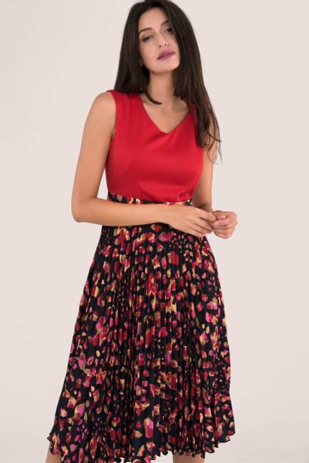 Closet Gold Red Print Pleated Skirt Dress