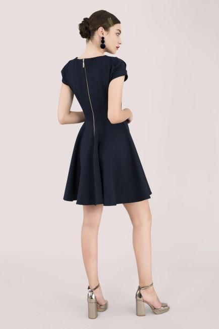 Navy Ruched Sleeve Skater Dress